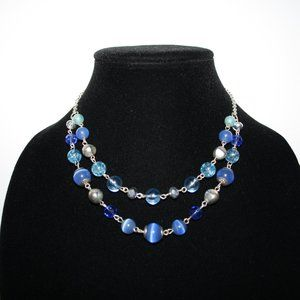 Beautiful silver and blue layered necklace